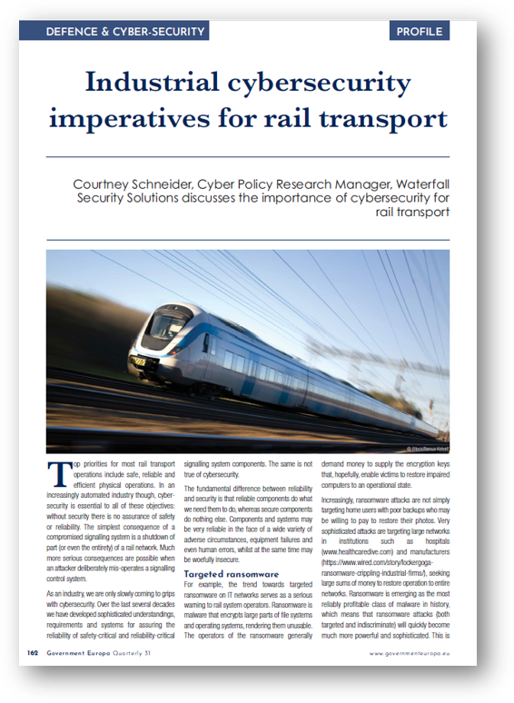 GOVERNMENT EUROPA: INDUSTRIAL RAIL CYBERSECURITY IMPERATIVE FOR THE FUTURE OF TRANSPORT